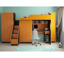 Комната для школьника - кровать Фанки 4 + лестница-комод 13/8СВ + шкаф 13/2СВ + шкаф 13/10СВ