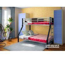 Железная кровать для двоих детей Фанки Лофт 2 + шкафы: 13/3СВ и 13/10СВ
