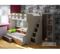 Двухъярусная кровать для двух детей Фанки Кидз 19 + тумба-лестница 13/8СВ и стеллаж 13/9СВ