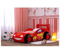 Детская кровать-машина Молния-Пластик с объемными колесами
