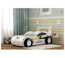 Детская кровать-машина Молния-Полиция с объемными колесами