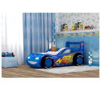 Кровать-машина Молния-Пластик с объемный бампером и колесами