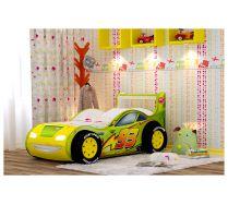 Кровать-машина Молния-Пластик с объемными бампером и колесами