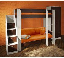 Кровать двухъярусная Фанки Кидз 20 + лестница 13/8 СВ + шкаф 13/3 СВ + комплект подушек детских