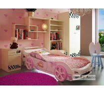 Кровать машина для девочек Принцесса Стандарт + мебель Фанки Авто