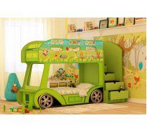 Двухъярусный Автобус Винни Пух Престиж 160х70см или 170х70см спальное место