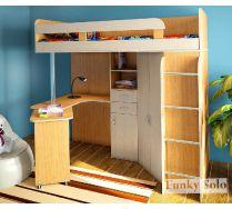 Кровать чердак для детей Фанки Соло - 2 с рабочей зоной