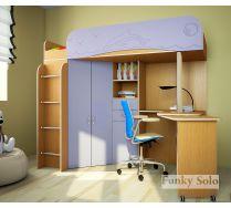 Детская кровать Фанки Соло 3 с МДФ-фасадами и рабочей зоной
