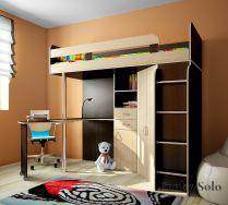 Кровать-чердак с рабочей зоной Фанки Соло - 2 для детей