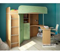 Детская кровать чердак Фанки Соло 3 с МДФ-фасадом