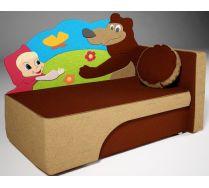 Детский диван кровать Маша и медведи цвет: коричневый