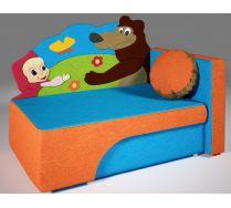 Детский диван кровать Маша и медведи цвет: оранжевый