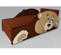 Детский мягкий диванчик Тедди цвет коричневый с одной боковиной