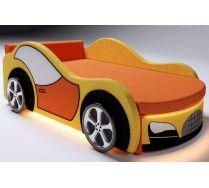 Детская кровать-машина Велюр с двумя декоративными боковинами и  4-мя колесами