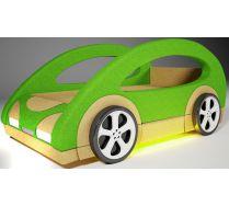 Детская кровать-машина Космик с двумя декоративными боковинами и  4-мя колесами