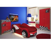 Кровать машина Велюр с серией мебели Фанки Авто