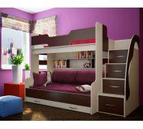 Двухъярусная кровать детская Фанки Кидз 21 + комплект детских подушек