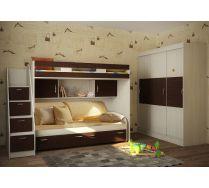 Кровать Факи Кидз 22 + лестница 13/8СВ + кровать нижняя выкатная 13/53СВ + шкаф купе 13/60СВ + комплект детских подушек