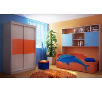 Детская комната Фанки Кидз 13/59 шкаф двухдверный + 13/62 мост надкроватный + диванчик Дельфин