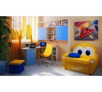 Детская комната Фанки Кидз  13/62 мост надкроватный + 13/63 стол угловой + диванчик Тачки + мягкий пуфик ПФ1