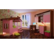 Кровать для девочек Фанки Домик Кровать 13/64СВ + стол угловой 13/63СВ + пуф ПФ1 + мост 13/62СВ