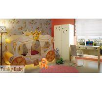 Детская кровать-карета Золушка + шкаф Ш-3 + стол СТ-4 серия Далматинец