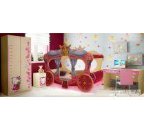 Кровать в виде кареты Золушка + шкаф Ш-3 + тумба Т-5 + стол СТ-4 Кити