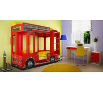 Двухъярусная кровать в виде автобуса Лондон + тумба ФА - Т5 + стол СТ-4 Фанки Авто