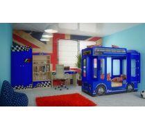 Кровать детская двухэтажная Лондон + Шкаф двухдверный ФА-Ш3 + Стол СТ-4 Фанки + Стеллаж Фанки Авто ВА - С2