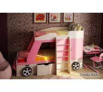 Детская двухъярусная кровать-машина Джип + парта Фанки Деск-1