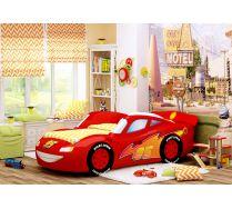 Объемная кровать-машина Молния Люкс. Цвет - красный.