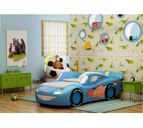 Объемная кровать-машина из пластика Молния Люкс. Цвет - синий.