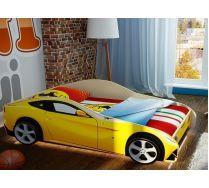 Детская кровать машина Феррари Ф-12 + 2 объемных колеса + светодиодная подсветка