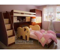 Кровать чердак 22 + лестница 13/8+шкаф 13/59 +диван Слон