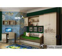 Детская Фанки Тревел: стол + полка + кровать + мост + шкаф