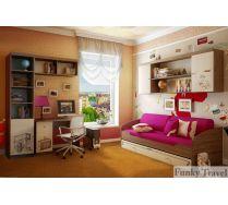 Детская комната Фанки Тревел: стеллаж + полка + стол + кровать+ мост + подставка под ПК