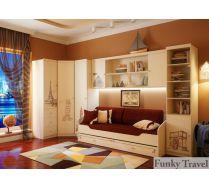 Детская Фанки Тревел: стеллаж + угловой шкаф + пенал с ящиками + пенал + мост + кровать