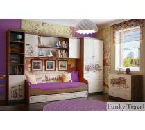 Детская Фанки Тревел: стеллаж + мост + кровать + шкаф + комод