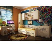 Детская комната Фанки Тревел: комод + кровать + пенал с ящиками + стол + мост