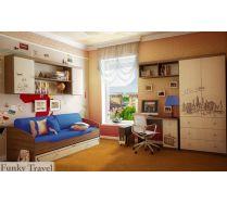 Детская Фанки Тревел: стол + подставка д/ПК + шкаф + полка + мост + кровать
