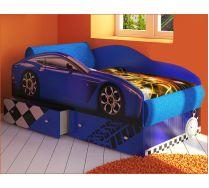 Кровать машина Тесла с дополнительными ящиками для белья и мягкими эелемнтами