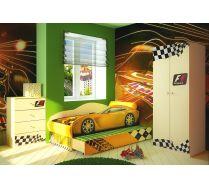 Мебель в детскую кровать-машина Тесла на подиуме + Шкаф ФА-Ш3 + комод ФА-К1
