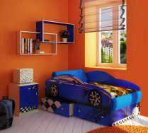 Кровать машина с выдвижными ящиками для белья Фанки Тесла + модули Фанки Авто