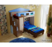 Кровать чердак Фанки Хоум 11004 + кровать низкая ФТ02