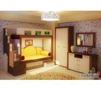 Двухъярусная кровать Фанки Хоум + ФТ05 + ФТ01 + диванные подушки