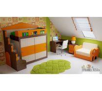 Кровать Фанки Хоум со шкафом-купе + ФТ10 + ФТ08 + диван Слоник.