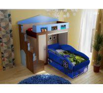 Кровать-чердак Замок артикул 11004 + кровать-машина Тесла