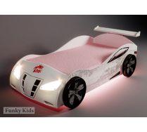 Кровать машина для девочек - Ниссан белая, арт. 20003 /спойлер+2 колеса+нижняя подсветка/