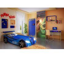 Кровать-машина Ниссан арт. 20003 с бампером + мебель Фанки Авто /красный, синий, крем ваниль/.