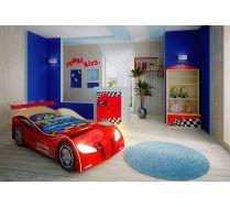 Кровать-машина Ниссан арт. 20003 с пластиковым бампером + мебель Фанки Авто: комод, стеллаж, полка